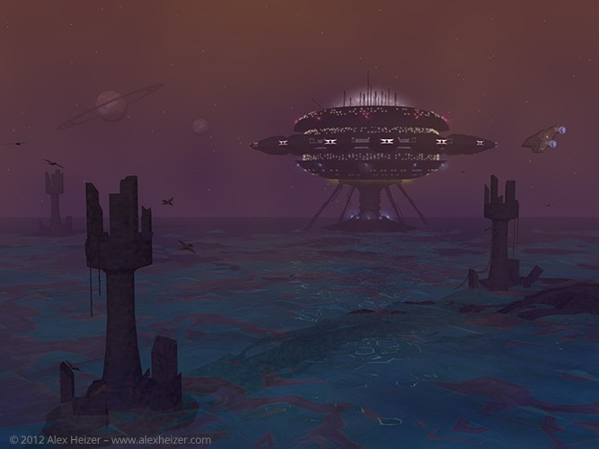 Digital 3D rendering of an outpost on a distant waterworld