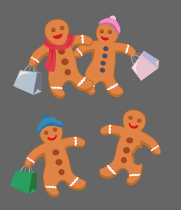 Happy Gingerbread Men and Women Going Shopping