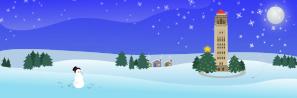 Unity Village Tower Nighttime Holiday Scene