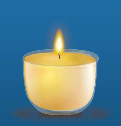A Lighted Candle on a Dark Background