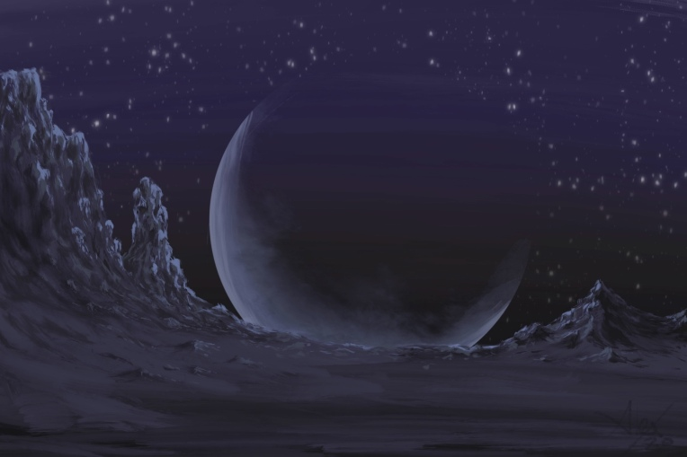 Digital painting of a planetrise on a distant moon.