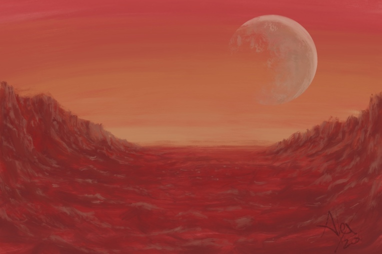 Digital painting of a moonrise on Mars.