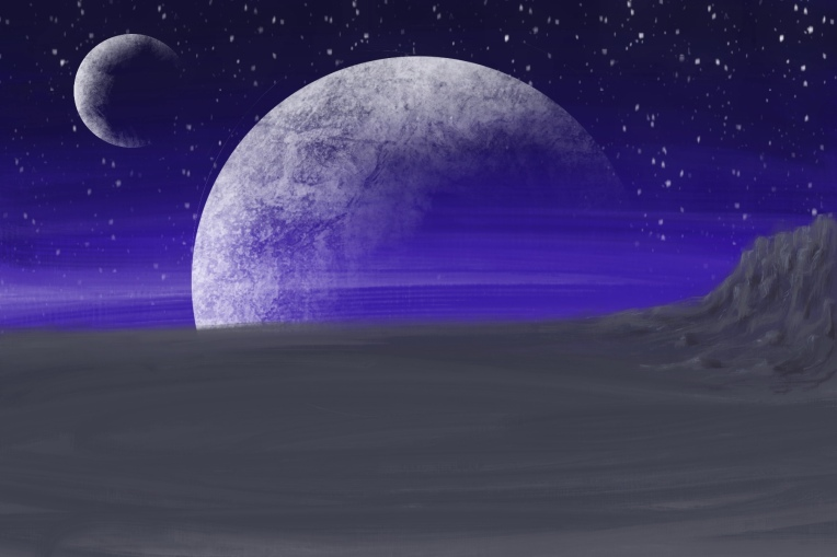 Digital painting of two moons rising from another distant moon.