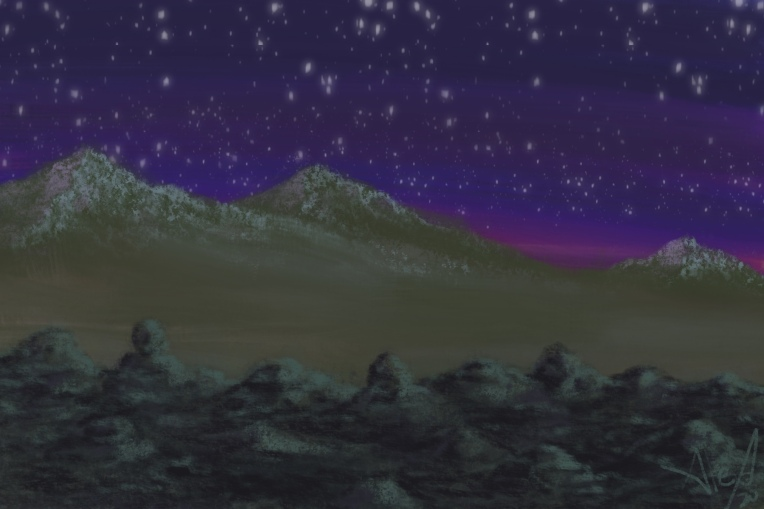 Digital painting of a mountain range from a rocky ridge on a distant planet.